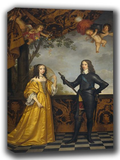 Honthorst, Gerrit van: William II, Prince of Orange, and his wife Mary Stuart. Fine Art Canvas. Sizes: A4/A3/A2/A1 (002166)